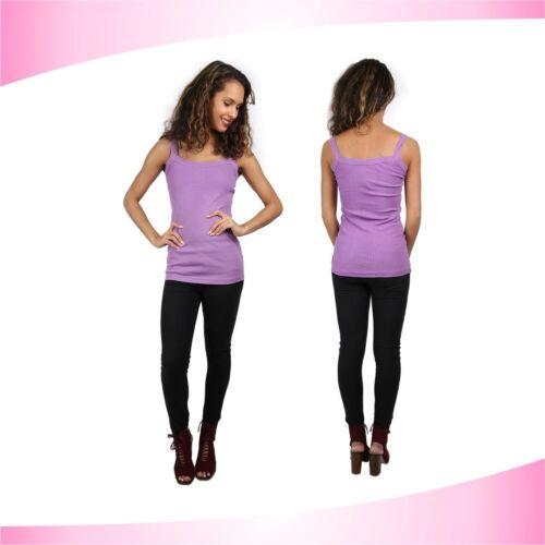 Womens New Plain Ladies Stretch  Strappy Cami Vest Tank Top S M L