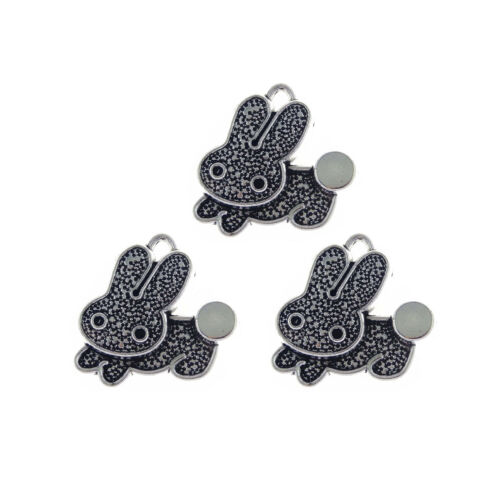 Pack of 20 Vintage Silver Mini Rabbit Look Metal Charms Pendants 19x19 MM Crafts