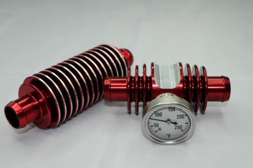 LTR450 ENGINE SUPER COOLER INLINE TEMP GAUGE COMBO RADIATOR RED ANODIZED