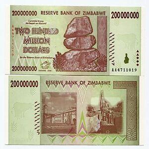 Zimbabwe 200 Million AA 2008 UNC P81 x 25 Banknotes 1/4 Bundle 100 Trillions