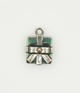 Vintage-Sterling-Silver-amp-Enamel-Gift-Present-with-Bow-Charm