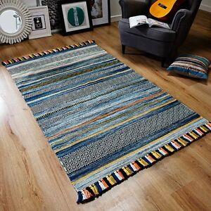 Kelim-Blue-Stripes-Rugs-and-Hall-Runners-Tribal-Aztec-Geometric-Design-Tassels