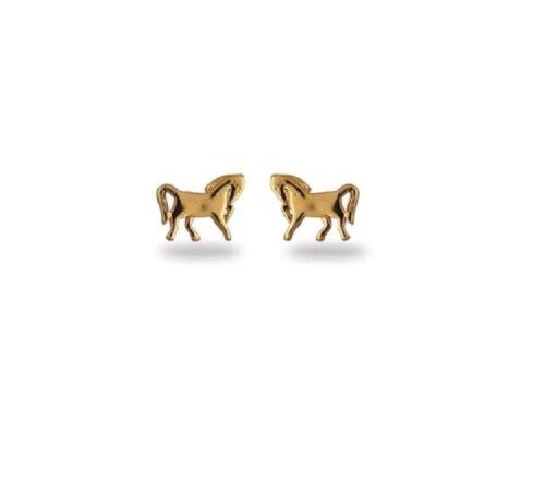 """Boucles d/'oreilles clous puces /""""cheval/""""plaqué or 750//000,garanti sans nickel"""