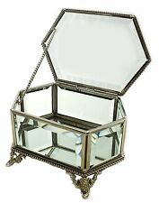 NEW Hestia Metal Rope Design Bevelled Glass Hexagonal Trinket Jewellery Box Gift