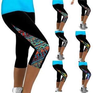 ladies sports yoga fitness capri leggings gym 3/4 pant