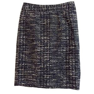 Banana-Republic-Women-039-s-Black-Blue-Tweed-Career-Straight-Pencil-Skirt-Size-4
