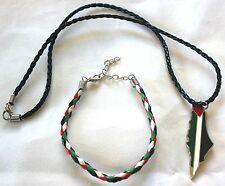 Lot of 2: Palestine Flag Map Necklace & Braided Palestine Flag Bracelet # 12