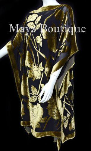 Matazaro Kimono Fluweel Zijde Goudblk Burnout Handgeverfd Caftancleding Antiek Maya iXZPku