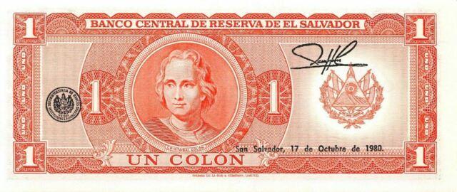 EL SALVADOR 1 COLON P133a 1982  COLON UNCIRCULATED,SUMMER SPECIAL DISCOUNT 10/%