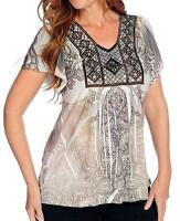 - One World Printed Knit Flutter Sleeve Embellished Top - Sz S