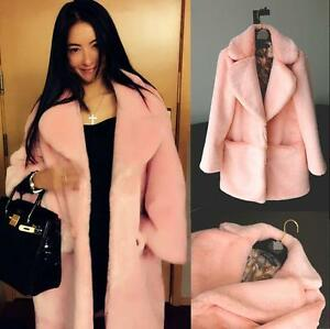 Collar Fur Overcoat Chic Soft Hot Frakke Jacket Faux Womens Thicken Outwear Lapel qO6AF