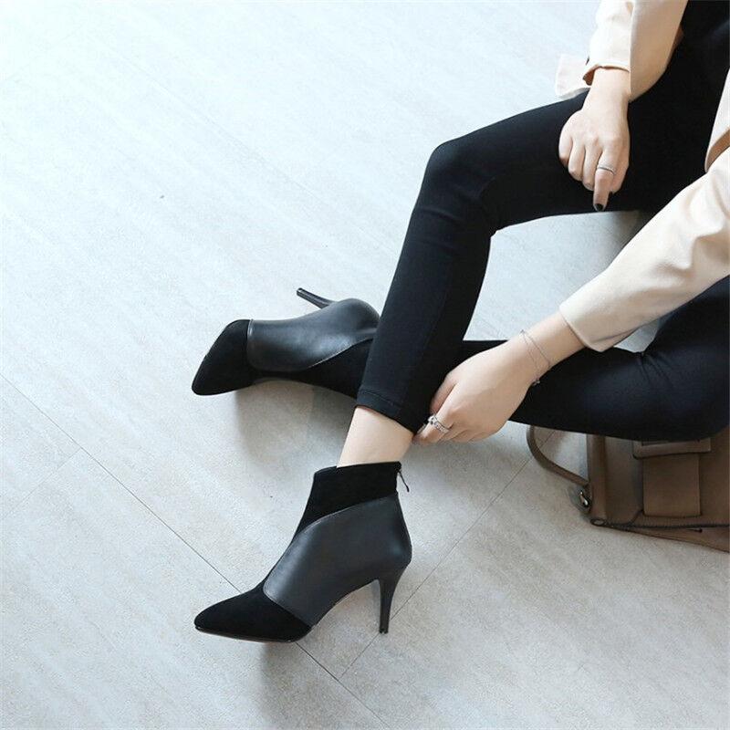Elegante De Mujer botas al Tobillo de Cuero de Gamuza Puntera en Punta Tacón Stiletto Negro Botines