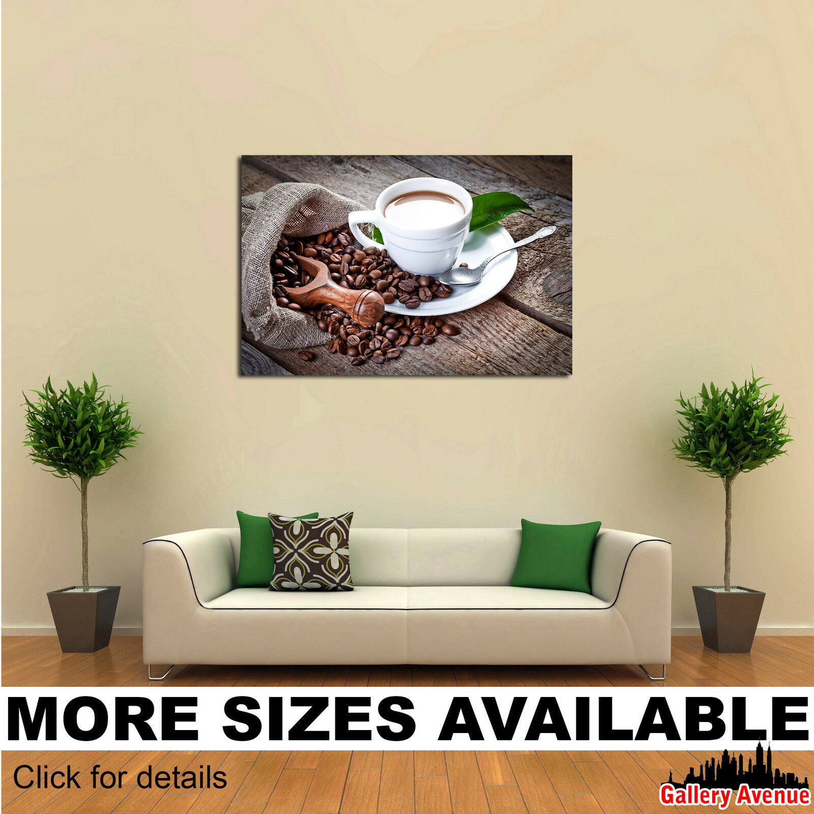 Wall Art Canvas Picture Print - Drinks Coffee Grain Cup Spoon Food 3.2
