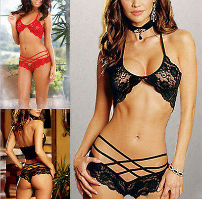 Sexy Women's Lingerie Lace Dress Underwear Black Babydoll Sleepwear G-string u87