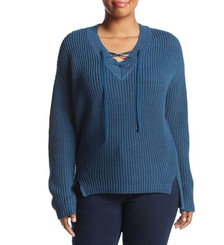 Ruff Hewn Woman/'s Plus Size Sweater Long sleeves Ribbed texture Lace up neckline