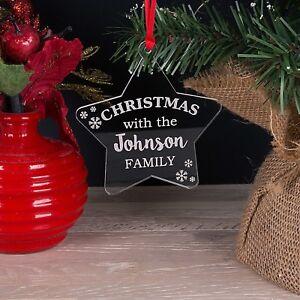 Acrilico-personalizzato-famiglia-Albero-di-Natale-Stella-Decorazione-pallina-natale