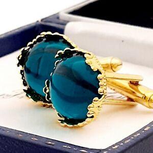 Vintage-Emerald-Green-Glass-Cabochon-15mm-Round-Goldtone-Crown-Cufflinks