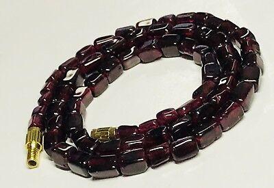 "Genuine Polished 4mm Garnet Bead Necklace 16.5"" Long"