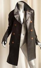 COMME DES GARCONS Black LEATHER Long Front Short Back Sweater Jacket Coat S NEW