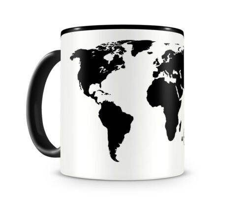 Weltkarte Weltenbummler Tasse Kaffeetasse Teetasse  2 Farben H:95mm D:82mm