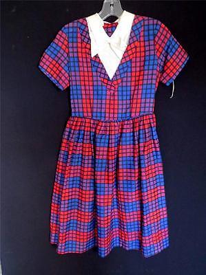 Da Collezione Rosso E Blu 1940's Deadstock Never Worn Nuovo Cotone Vestito