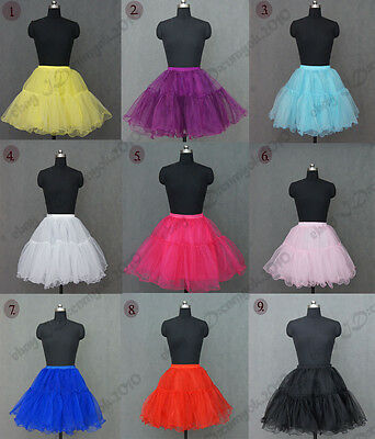"9 Colors Tulle 20"" Knee Length Crinoline Petticoat Tutu Dance Wear Short Skirt"