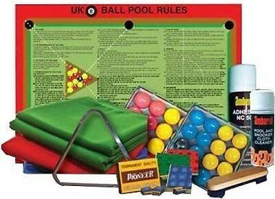 Pool Table Cloth Recovering & Pool Accessories Kit for 6ft & 7ft UK Pool Tables