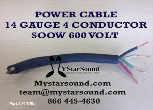 Sold in 10ft Increments WIRE  14 GAUGE 4 CONDUCTOR SOOW USA MADE POWER CABLE