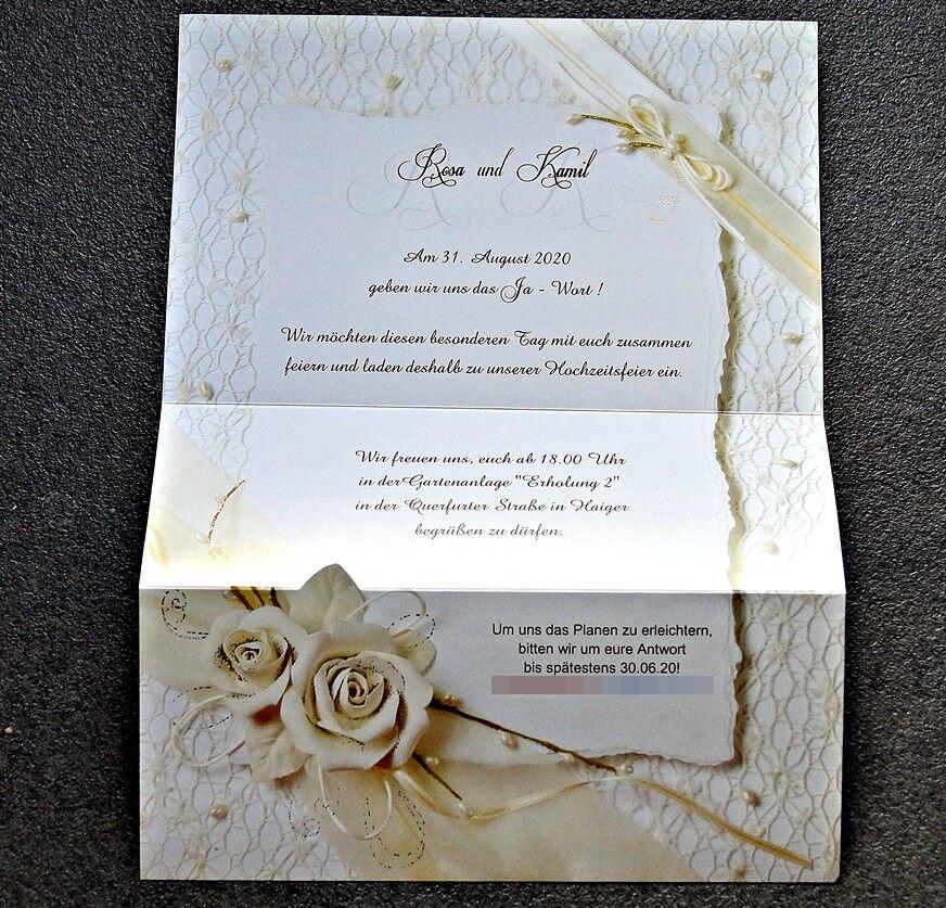 Einladungskarten Hochzeit F735 mit Umschlag  Hochzeitseinladungskarte  | Kostengünstig  | Bevorzugtes Material  | Schöne Farbe