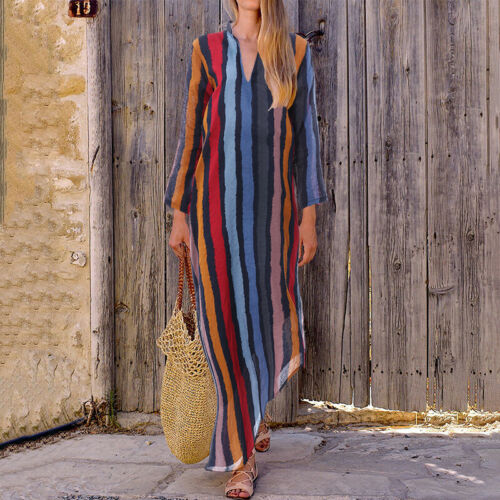 Stylish Side Split Printed Maxi Dress For Autumn Casualwear