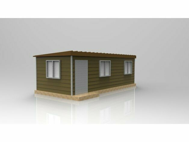 HO Scale Container houses 3D printed kit(Gray) 4 Shipping container houses