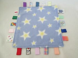 Taggies Blue Yellow Stars Fleece Baby Security Blanket Lovey Tags