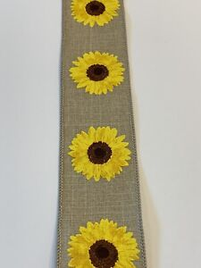 """10 Yds Of 2 1/2"""" Wired Beige Faux Burlap Ribbon With Bright Yellow Sunflowers"""