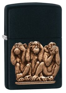 Zippo-Three-Monkeys-Black-Matte-Windproof-Pocket-Lighter-29409