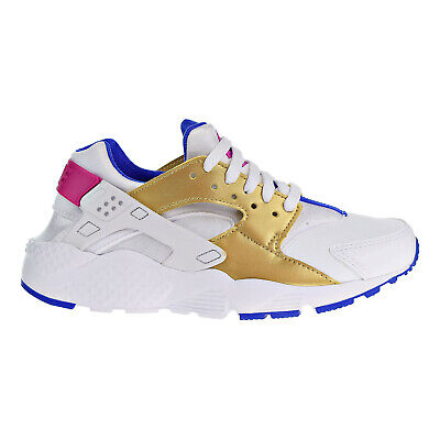 Nike Huarache Run (GS) Big Kids Shoes White-Metallic Gold-Racer Blue 654280-109 | eBay