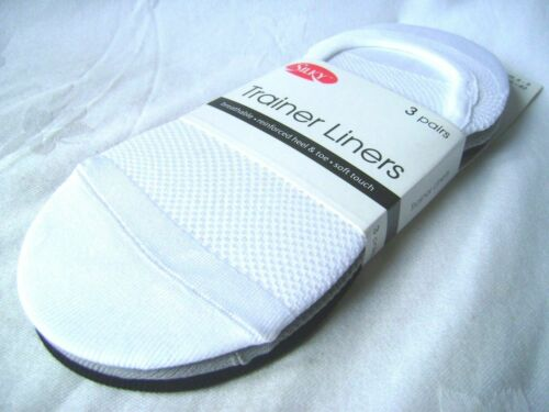 NEW 3 PAIRS TRAINER LINER SOCKS NO SHOW SHOE SIZE 4-8 WHITE GREY BLACK SILKY