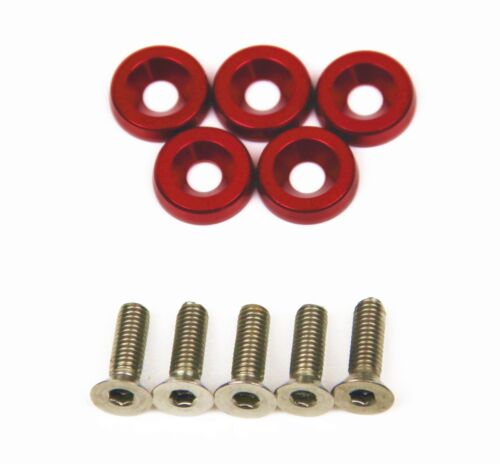 SUPER GT 5 x Anodise Red Fender Washers /& Bolts Honda Integra DC2 DC5 Type R