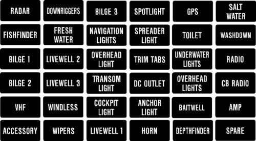 set Fishing Boat Instrument Panel decal label or switch or fuse description std