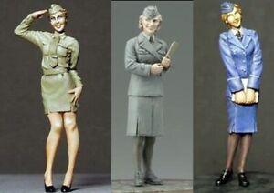1-35-Resin-WW2-Female-German-Soldier-Officer-3-Set-Unpainted-Unbuild-BL514