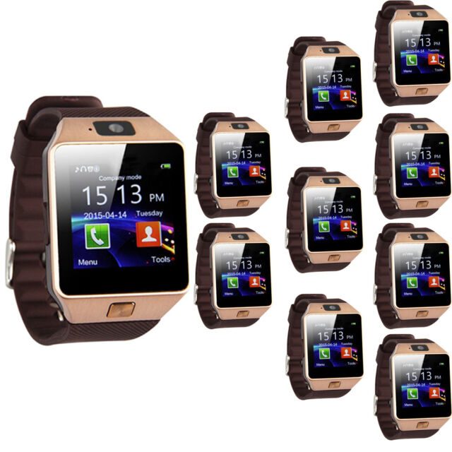 10PCS Gold DZ09 Bluetooth Smart Watch SIM for iPhone Samsung HTC Android Phone