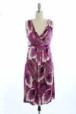 Designer Elie Tahari purple palm print silk 'Melanie' dress Sz S UK8 RRP 300