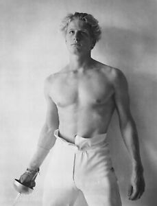 1983-Bruce-Weber-Male-Semi-Nude-Fencing-Matted-20-034-x-16-034-Photo-Gravure-Print