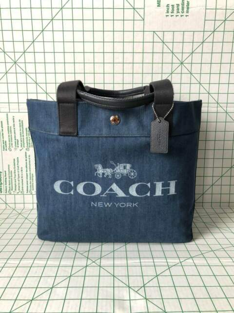 Nwt Coach F25902 Canvas Tote Shoulder Bag With Horse And Carriage Denim
