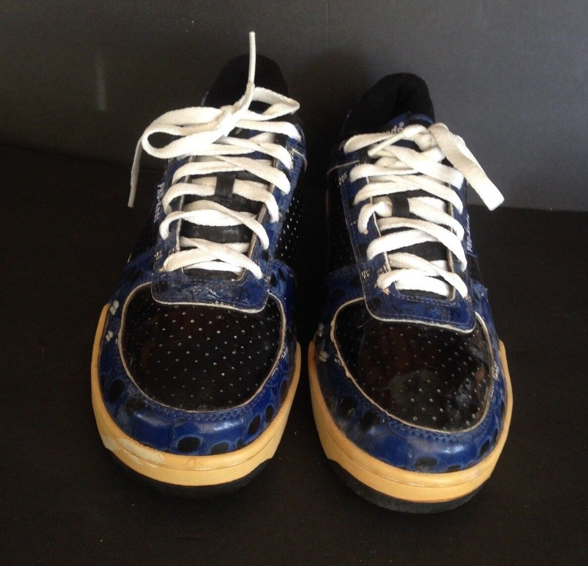 PRO-KEDS LOW SNEAKERS PM 1477 ROAYL COURT blueE SKULL DESIGN SIZE 10 PRE-OWNED