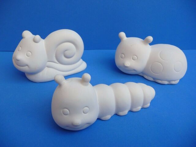 PAINT YOUR OWN POTTERY Cute Bugs Ladybird Caterpillar Snail Pottery Pieces - PK3