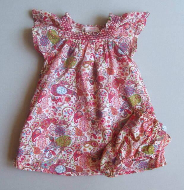 Liberty of London Target Girls 12 Mo Smocked Pink Floral Paisley Dress Set EUC