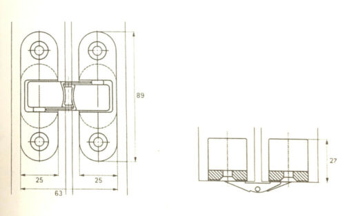 Cerniera invisibile per porte a battente VI.TEL A0111 colore ORO