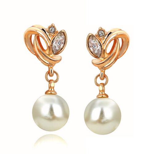 Nouveau Femmes Or Jaune Rempli Artificiel Perle Cristal Dangle Boucles d/'oreilles Clou