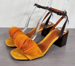 Mercedes-Castillo-Riza-Block-Heel-Sandal-Tangerine-Womens-Size-6-5