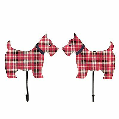 Pair Of Tartan Winston Scottie Dogs Wall Coat Hooks by Sass and Belle * Gift